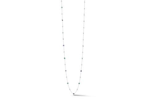 "AF Jewelers ""Station"" Necklace with Emeralds, Blue Sapphires and Diamonds, 18k White Gold. 34"" length."
