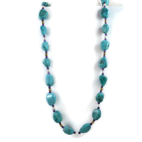 AF Jewelers Necklace Strand of  Natural Arizona Turquoise Nuggets, White Fresh Water Pearls, Amethyst and 18k Yellow Gold