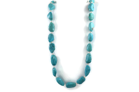 AF Jewelers Necklace Strand of  Natural Arizona Turquoise and White Fresh Water Pearls, 18k Yellow Gold Clasp.