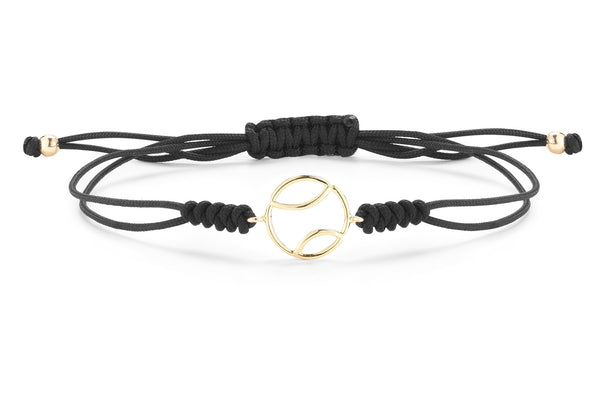AF Jewelers - Tennis Ball Bracelet, 18k Yellow Gold, Black Cotton Cord