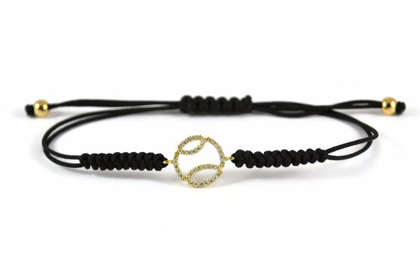AF Jewelers - Tennis Ball Bracelet with Diamonds, 18k Yellow Gold, Black Cotton Cord