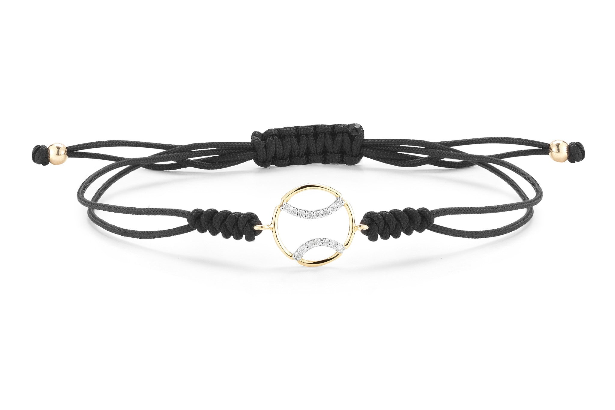"AF Jewelers ""Tennis Anyone?""  Bracelet with Diamonds, 18k Yellow and White Gold, Black Cotton Cord."