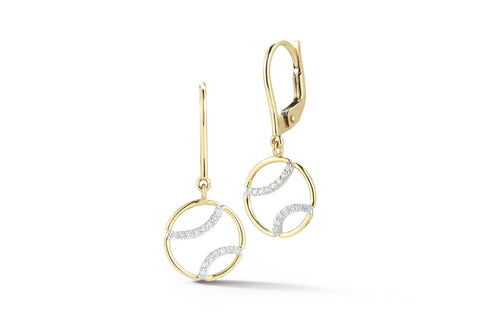 AF Jewelers - Tennis Ball Drop Earrings with Diamonds, 18k Yellow and White Gold