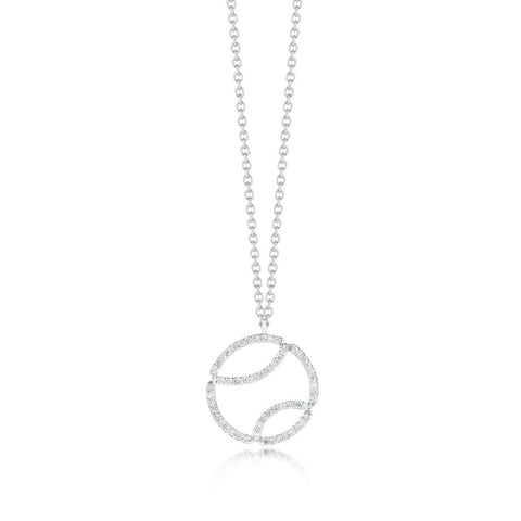 AF Jewelers - Tennis Ball Pendant Necklace with Diamonds and with Chain, 18k White Gold