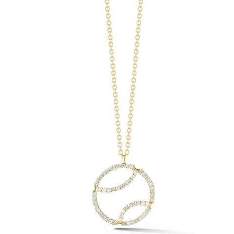AF Jewelers - Tennis Ball Pendant Necklace with Diamonds and with Chain, 18k Yellow Gold