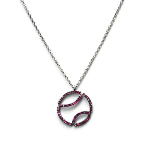 AF Jewelers - Tennis Ball Pendant Necklace with Rubies and with Chain, 18k Blackened  Gold