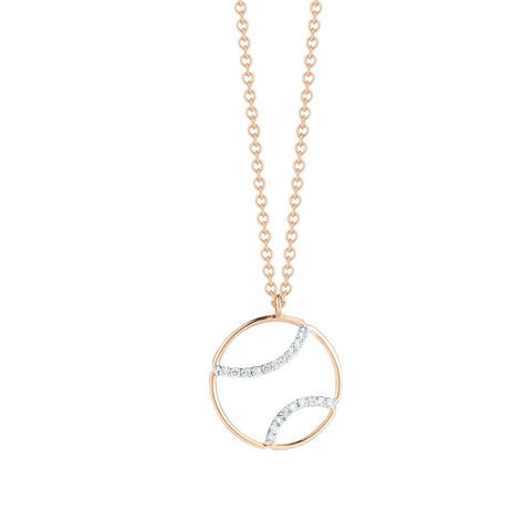 AF Jewelers - Tennis Ball Pendant Necklace with Diamonds with Chain, 18k Rose and White Gold