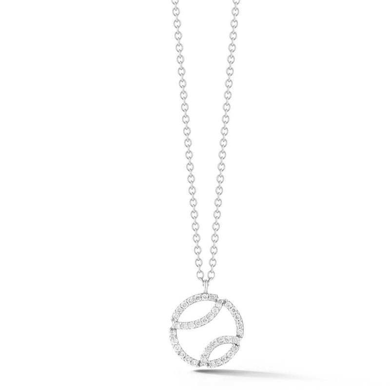 AF Jewelers - Small Tennis Ball Pendant Necklace with Diamonds and with Chain, 18k White Gold