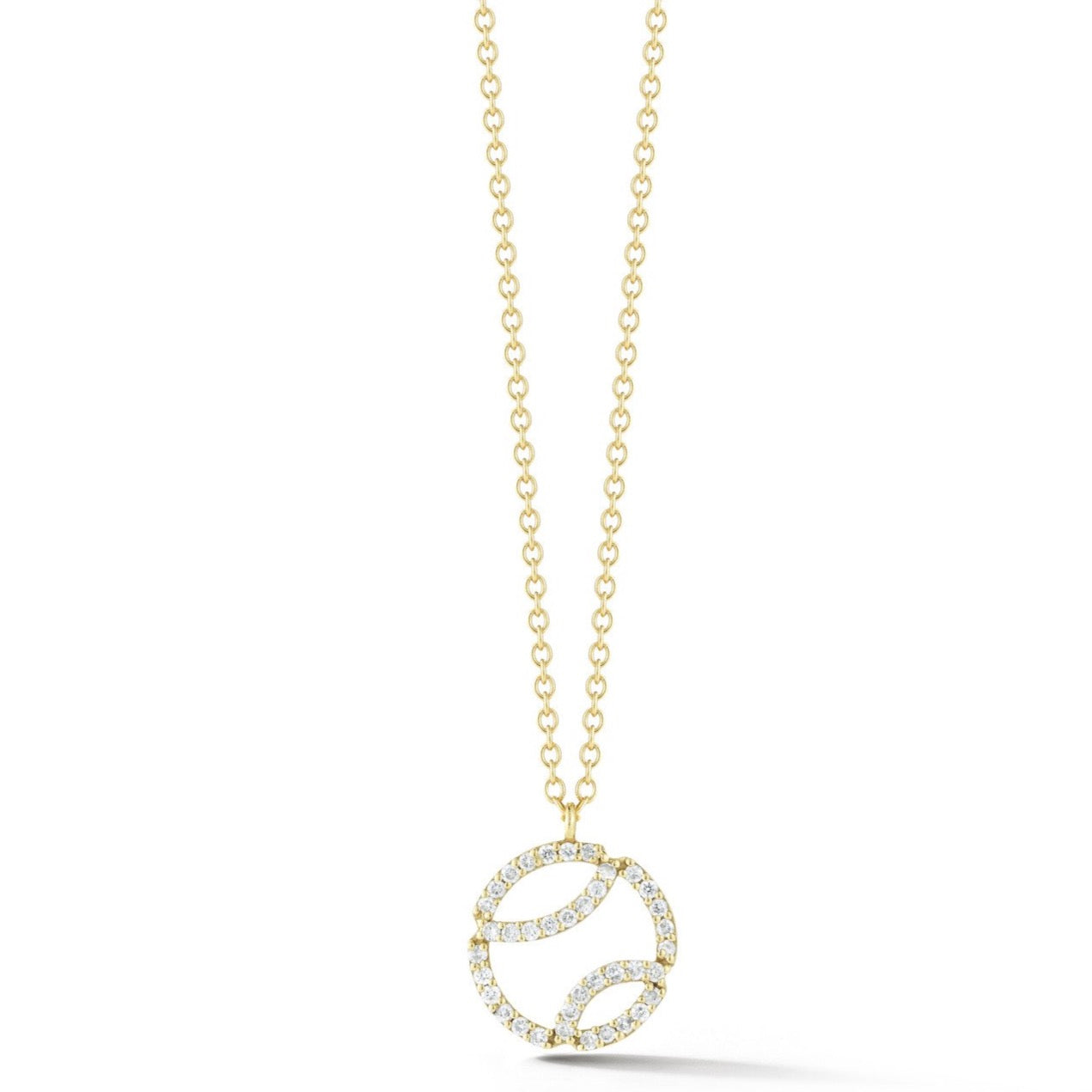 AF Jewelers - Small Tennis Ball Pendant Necklace with Diamonds and with Chain, 18k Yellow Gold