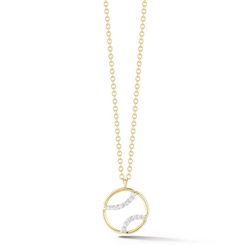 AF Jewelers - Small Tennis Ball Pendant Necklace with Diamonds, 18k Yellow and White Gold