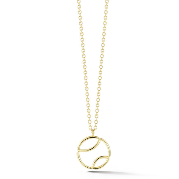 AF Jewelers - Small Tennis Ball Pendant with Chain, 18k Yellow Gold
