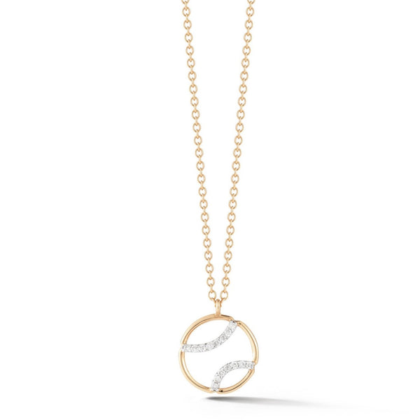 AF Jewelers - Small Tennis Ball Pendant Necklace with Diamonds, 18k Rose and White Gold