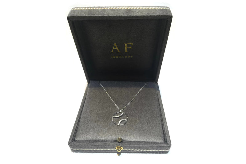 AF Jewelers - Tennis Ball Pendant Necklace with Diamonds with Chain, 18k White Gold
