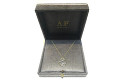 AF Jewelers - Tennis Ball Pendant Necklace with Diamonds with Chain, 18k Yellow and White Gold