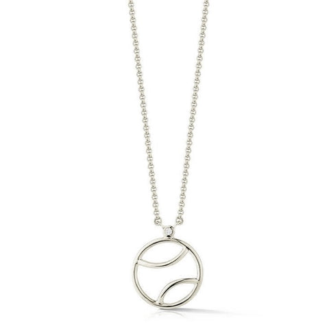 AF Jewelers - Tennis Ball Pendant Necklace with 1 Diamond, Sterling Silver