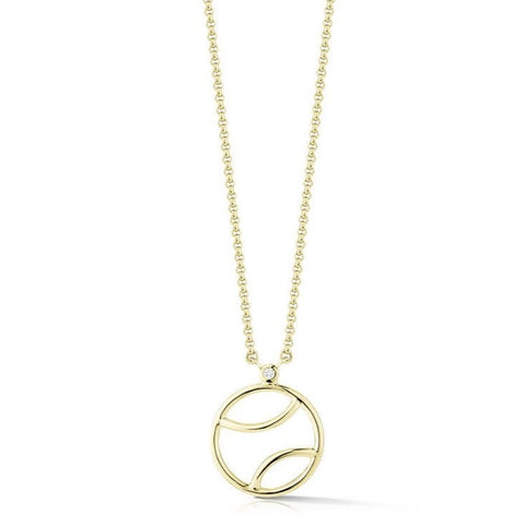 AF Jewelers - Tennis Ball Pendant Necklace with 1 Diamond, Gold Plated Sterling Silver
