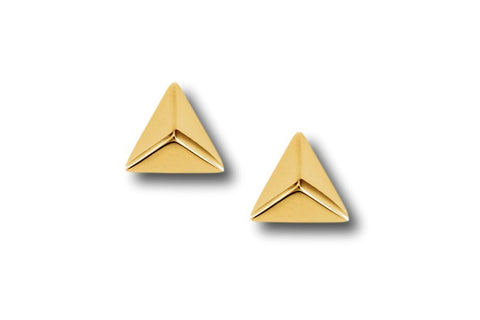 "AF Collection ""Triangle Pyramid"" Stud Earrings, Yellow Gold."