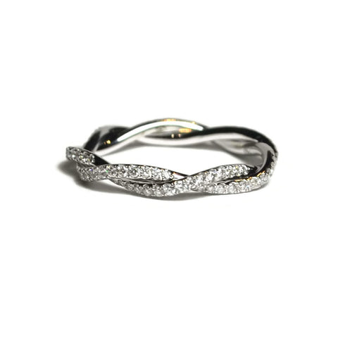 AF Collection Twisted Vine Diamond Eternity Band Ring, 18k White Gold