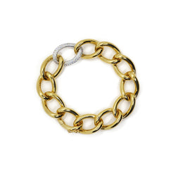 AF-JEWELERS-YELLOW-GOLD-GOURMETTE-DIAMONDS-LINKS-BRACELET