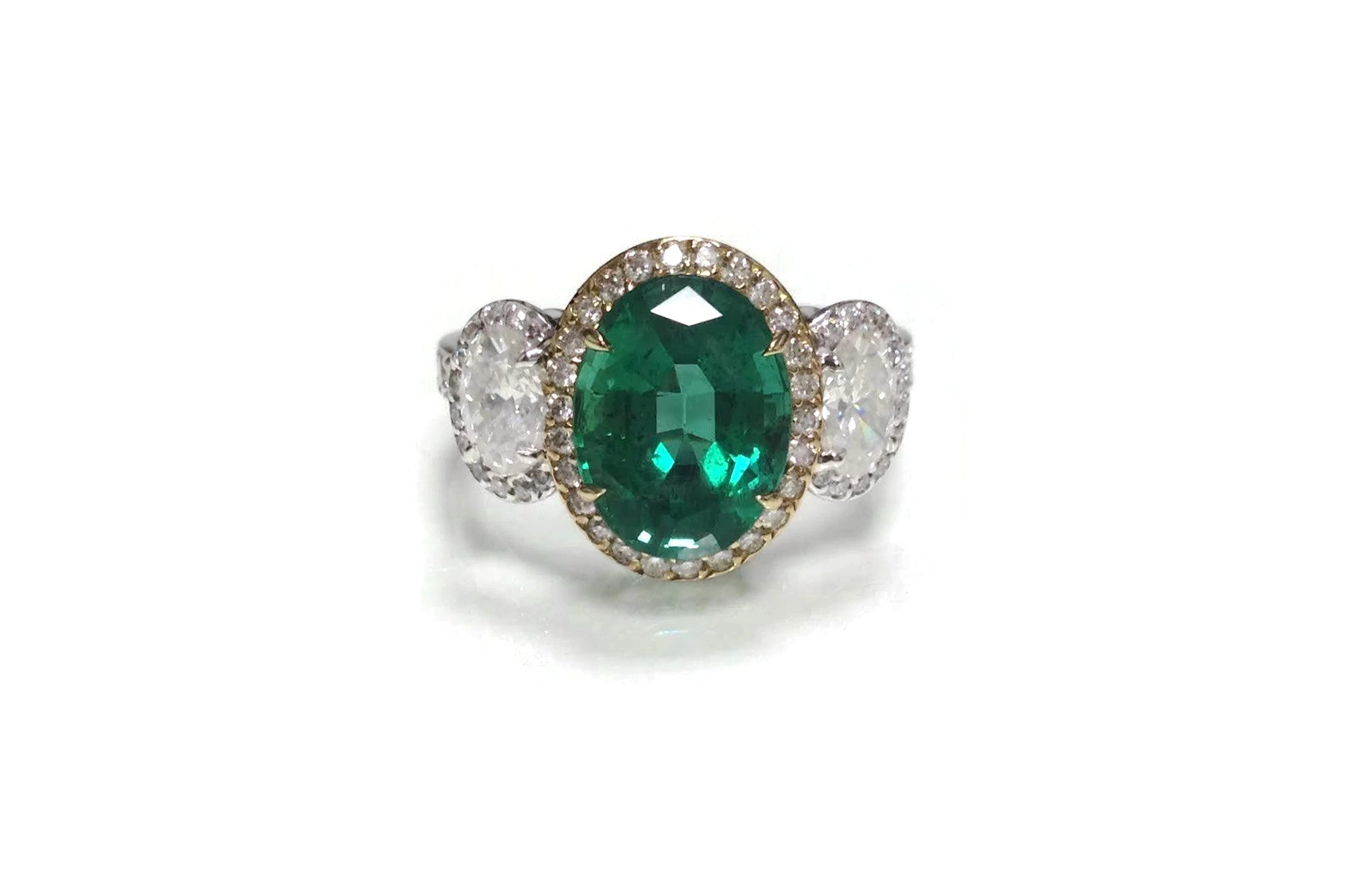 AF Jewelers One of Kind Ring with Oval Zambian Emerald and Diamonds, 18k Yellow and White Gold.