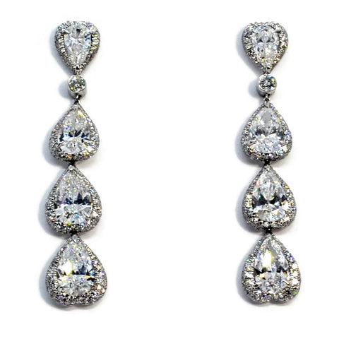 AF Collection - Diamond Drop Earrings, Platinum