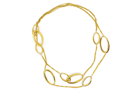 AF Collection - 18k Yellow Gold Oval Link Station Necklace
