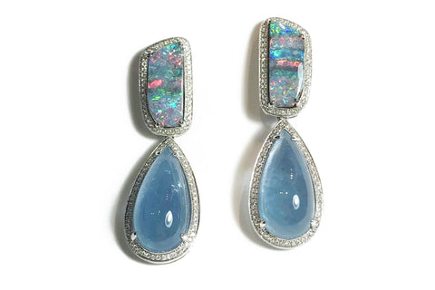 AF Collection - One of a Kind Drop Earrings with Aquamarine, Opals and Diamonds, White Gold