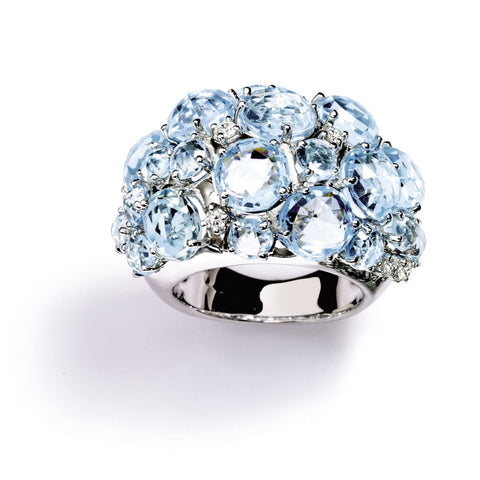 "A & Furst ""Bouquet"" Dome Ring with Blue Topaz and Diamonds, 18k White Gold."
