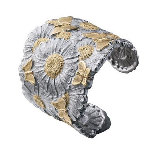 "Buccellati ""Blossoms Butterfly and Daisy"" Wide Cuff Bracelet, Sterling Silver with Gold Accents."