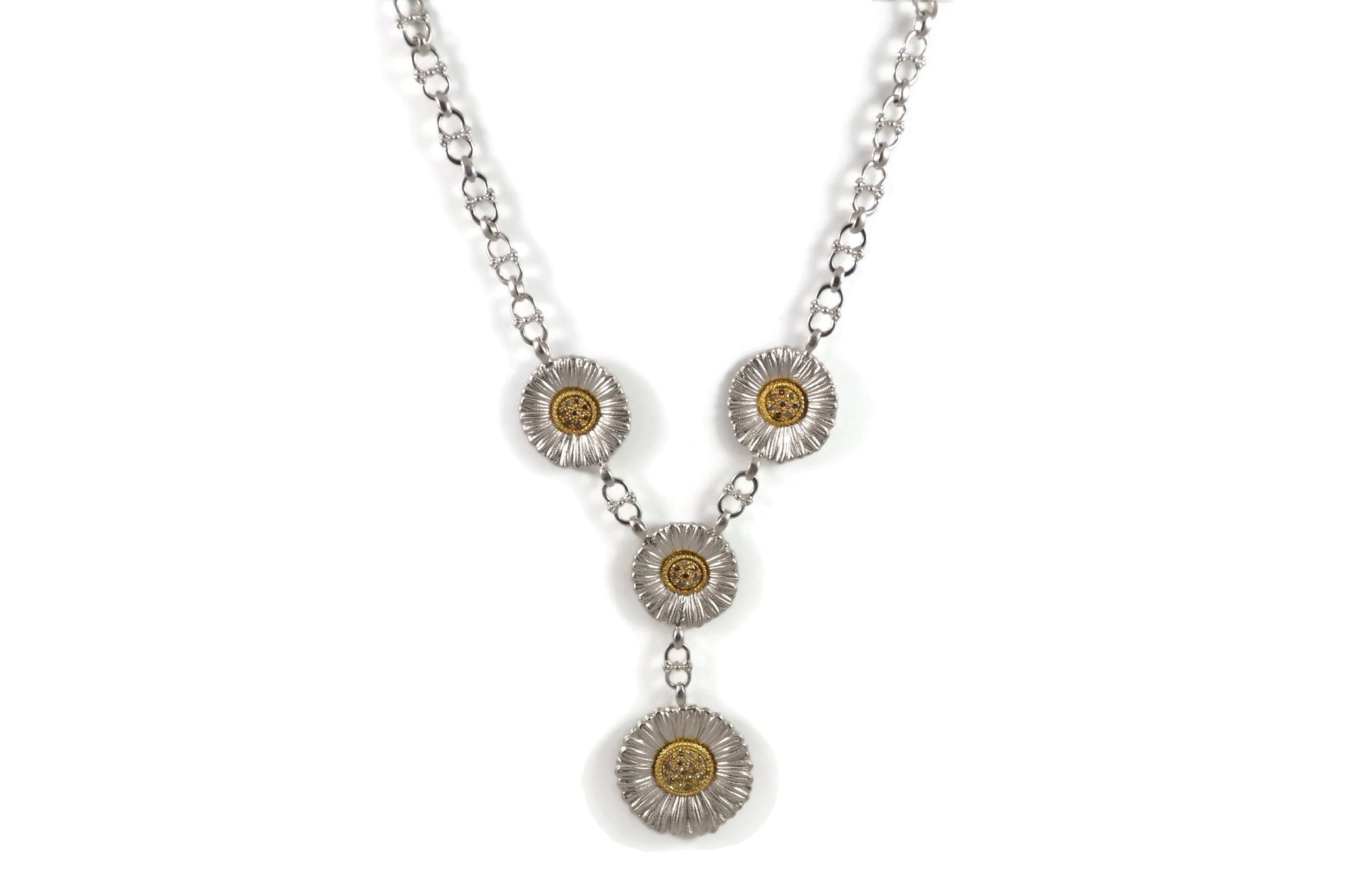 BUCCELLATI-BLOSSOMS-DAISY-NECKLACE-BROWN-DIAMONDS-STERLING-SILVER