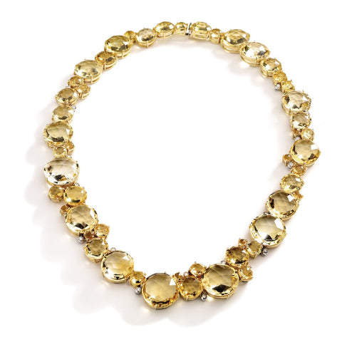 "A & Furst ""Bouquet"" Single Necklace with Citrine and Diamonds, 18k Yellow Gold"