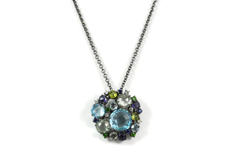 "A & Furst ""Bouquet"" Cluster Pendant with Prasiolite, Blue Topaz, Peridot, Iolite, Blue Sapphires, Tsavorite Garnet and Diamonds, 18k Blackened Gold."