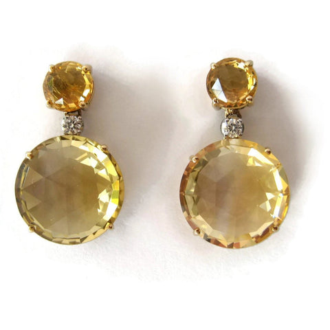 "A & Furst ""Bouquet"" Drop Earrings with Citrine and Diamonds, 18k Yellow Gold."