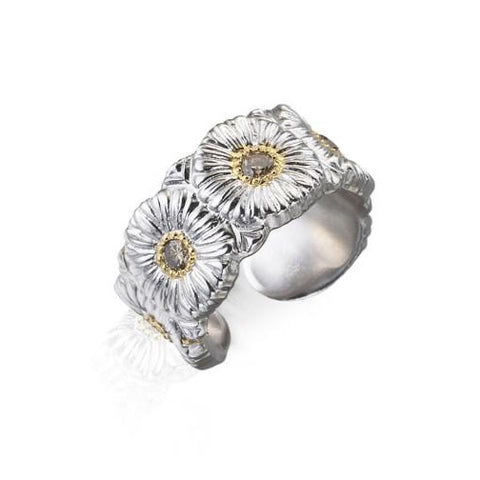 "Buccellati ""Blossoms Daisy"" Band Ring, Sterling Silver with Gold Accents and Brown Diamonds."