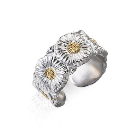 Buccellati - Blossoms Daisy Band Ring, Sterling Silver with Gold Accents