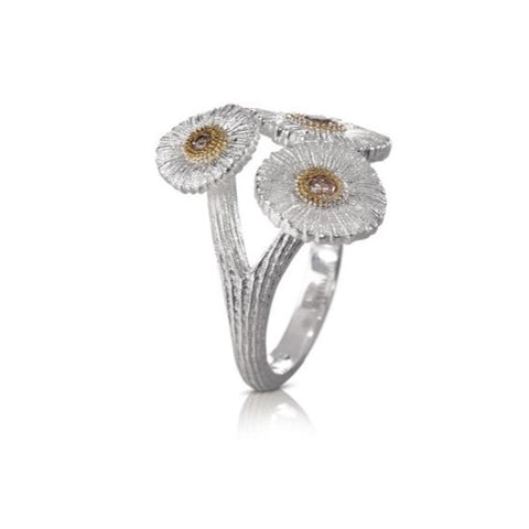 "Buccellati ""Blossoms Daisy"" Bouquet Ring with Brown Diamonds, Sterling Silver with Gold Accents"
