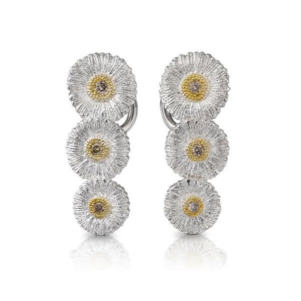 BUCCELLATI-BLOSSOMS-DAISY-CLIMBER-EARRINGS-BROWN-DIAMONDS-SILVER