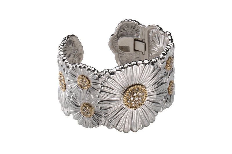 BUCCELLATI-BLOSSOMS-DAISY-CUFF-BRACELET-BROWN-DIAMONDS-SILVER