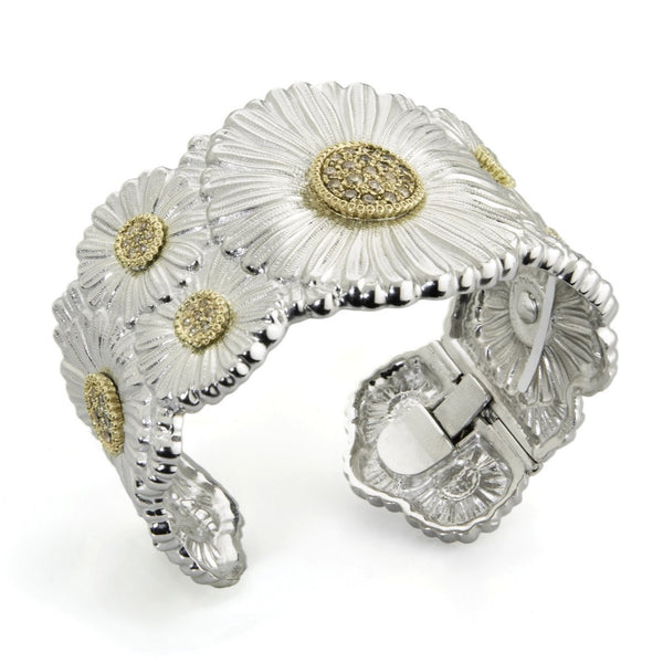BUCCELLATI-BLOSSOMS-DAISY-CUFF-BRACELET-BROWN-DIAMONDS-STERLING-SILVER