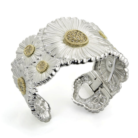 "Buccellati ""Blossoms"" Daisy Cuff Bracelet with Brown Diamonds, Sterling Silver with Gold Accents."
