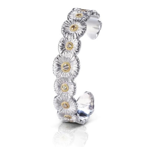 "Buccellati ""Blossoms Daisy"" Narrow Cuff Bracelet with Brown Daimond, Sterling Silver with Gold Accents"