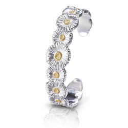 Buccellati - Blossoms Daisy - Narrow Cuff Bracelet Sterling Silver with Gold Accents