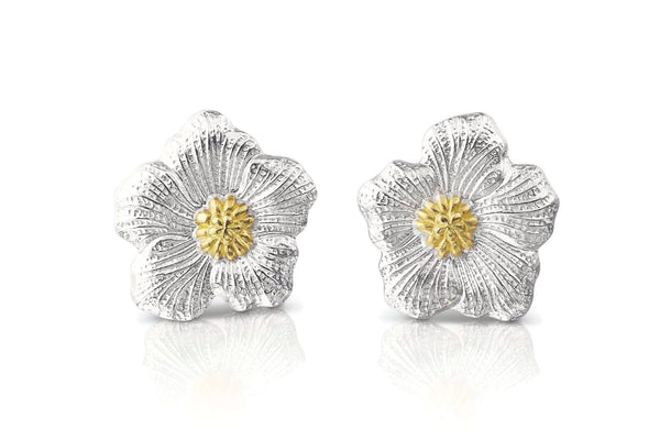 BUCCELLATI-BLOSSOMS-GARDENIA-BUTTON-EARRINGS-STERLING-SILVER-GOLD-ACCENTS-SOFRGARLP-Y-AF-JEWELERS-NAPA-VALLEY