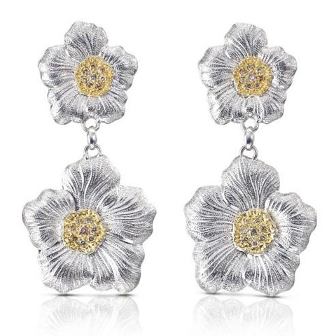 "Buccellati ""Blossoms Gardenia"" Drop Earrings with Brown Diamonds, Sterling Silver with Gold Accents"
