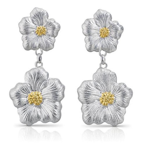 "Buccellati ""Blossoms Gardenia"" Drop Earrings Sterling Silver with Gold Accents"