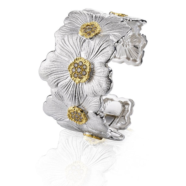 BUCCELLATI-BLOSSOMS-GARDENIA-CUFF-BRACELET-BROWN-DIAMONDS-STERLING-SILVER