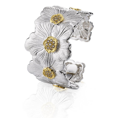 "Buccellati ""Blossoms Gardenia"" Cuff Bracelet with Brown Diamond, Sterling Silver with Gold Accents."