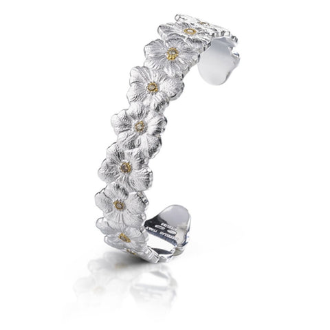 "Buccellati ""Blossoms Gardenia"" Narrow Cuff Bracelet with Brown Diamond, Sterling Silver."