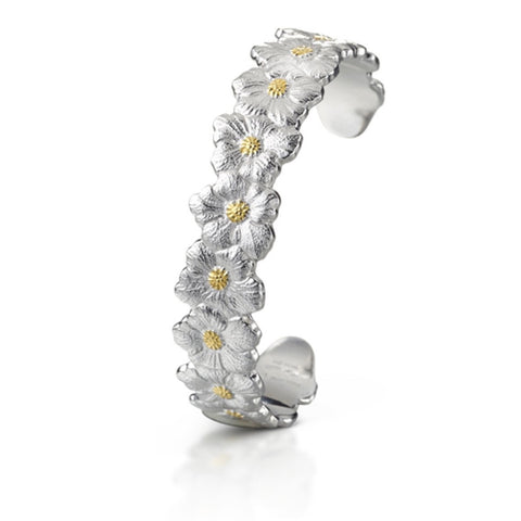 "Buccellati ""Blossoms Gardenia"" Narrow Cuff, Sterling Silver with Gold Accents."