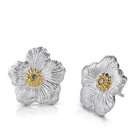 Buccellati - Blossoms Gardenia - Small Button Earrings with Brown Diamonds, Sterling Silver